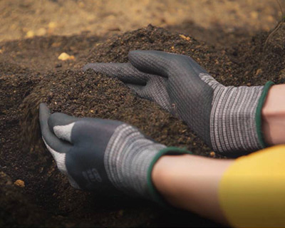 Durable gloves protect against dirt and cuts – ideal for gardening.